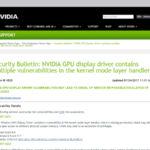 NVIDIA製GPUのディスプレイドライバーに複数の脆弱性